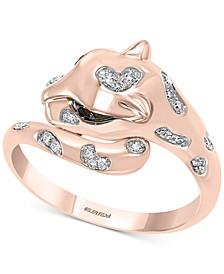 EFFY® Tsavorite (1/20 ct. t.w.) & Diamond (1/10 ct. t.w.) Cat Head Statement Ring in 14k Rose Gold