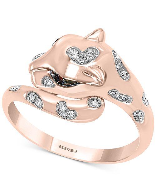 EFFY Collection EFFY® Tsavorite (1/20 ct. t.w.) & Diamond (1/10 ct. t.w.) Cat Head Statement Ring in 14k Rose Gold