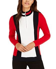 Cotton Mock-Neck Zip Sweater