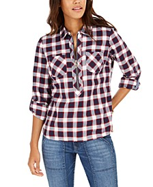 Cotton Plaid Zip-Up Popover Shirt