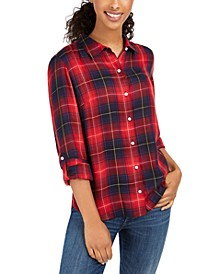 Plaid Utility Button-Up Shirt