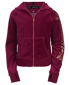 Big Girls Velour Logo-Print Hoodie