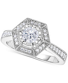 TruMiracle® Diamond Hexagon Halo Engagement Ring (5/8 ct. t.w.) in 14k White Gold