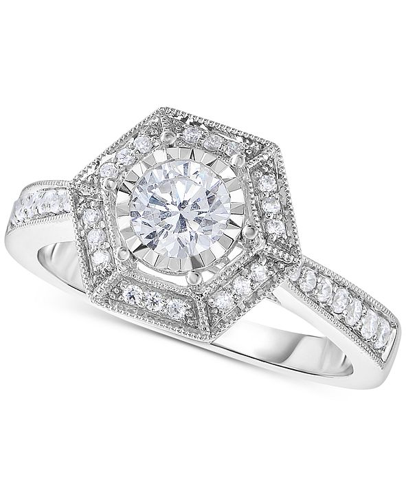 Macy's TruMiracle® Diamond Hexagon Halo Engagement Ring (5/8 ct. t.w.) in 14k White Gold