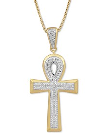"Men's Diamond Ankh 22"" Pendant Necklace (1/2 ct. t.w.) in 18k Gold-Plated Sterling Silver"