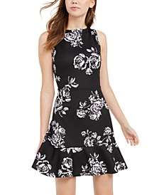 Juniors' Printed Ruffled Fit & Flare Dress
