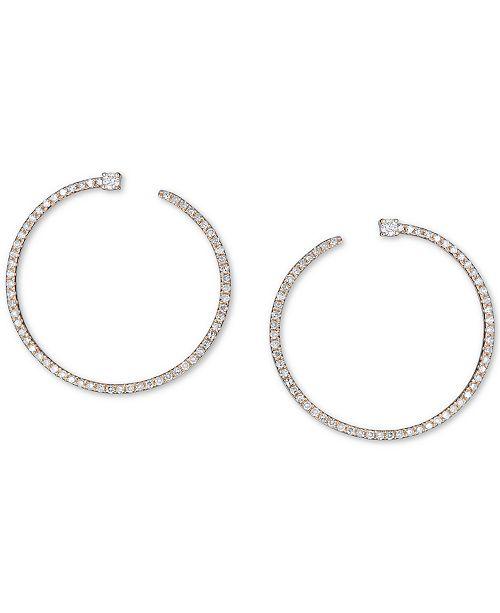 Macy's Diamond Front & Back Hoop Earrings (3/8 ct. t.w.) in 14k Gold