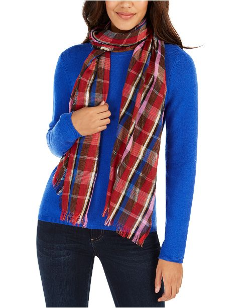 Echo Lurex Stripe Plaid Oblong Scarf