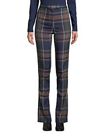 Plaid High-Waist Flat-Front Pants