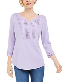 Petite Crochet-Bib Henley Top, Created for Macy's