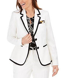 Contrast-Piped Blazer