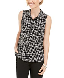 Chain-Print Button-Up Sleeveless Shirt