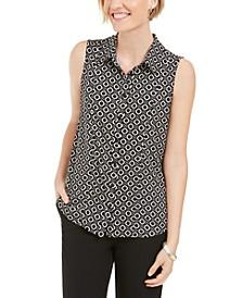 Chain-Print Button-Up Sleeveless Shirt