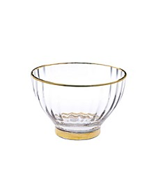Set of 4 Straight Line Textured Dessert Bowls with Vivid Gold Tone Rim and Base