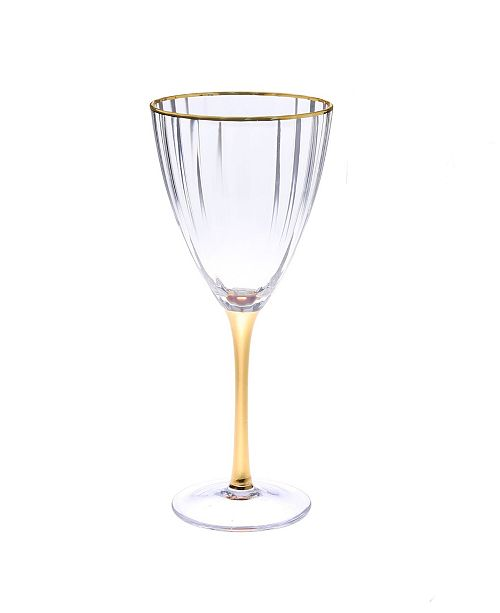 Classic Touch Set of 6 Straight Line Textured Water Glasses with Vivid Gold Tone Stem and Rim
