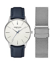 Men's Two Tone Genuine Leather and Stainless Steel Bracelet Gift Set, 40mm