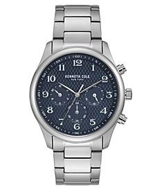 Men's Silver-Tone Stainless Steel Bracelet Watch, 42mm