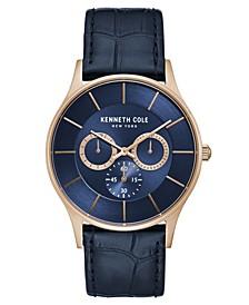 Men's Blue Genuine Leather Strap Watch, 42mm
