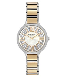 Women's Two Tone Stainless Steel Bracelet Watch, 33mm