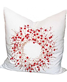 "Holiday Berryreath Pillow, 18"" x 18"""