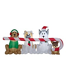8 ft. Inflatable Puppies with Candy Cane