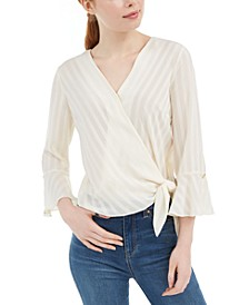 Juniors' Bell-Sleeve Wrap Top