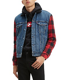 Men's Plaid Sleeve Sherpa Lined Denim Trucker Jacket