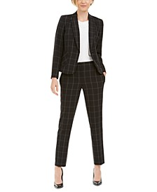Petite Windowpane-Plaid Blazer, Cowlneck Top & Windowpane-Plaid Pants
