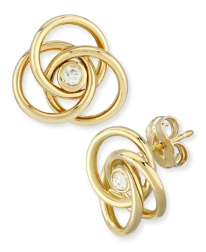 Diamond Accent Love Knot Earrings in 14K Yellow Gold
