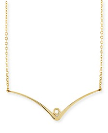 "Diamond Accent Curved ""V"" Necklace in 14K Yellow Gold"