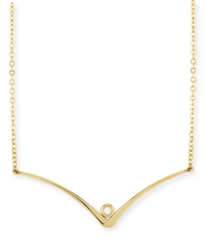 """Diamond Accent Curved """"V"""" Necklace in 14K Yellow Gold"""