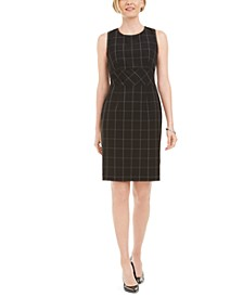 Windowpane Plaid Sheath Dress