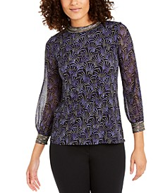 Petite Printed Embellished-Neck Top, Created for Macy's