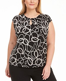 Plus Size Cap-Sleeve Printed Keyhole Stretch Top