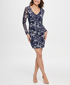 Mesh Ruched Floral Dress