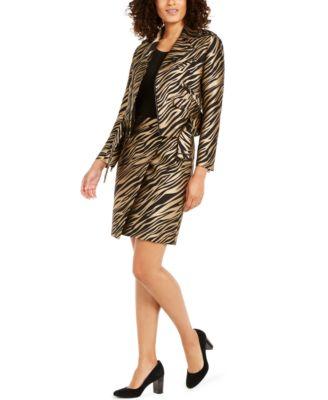 Faux-Wrap Jacquard Skirt