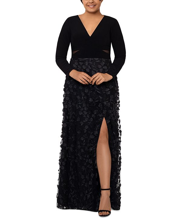XSCAPE Plus Size 3D Floral-Appliqué Gown