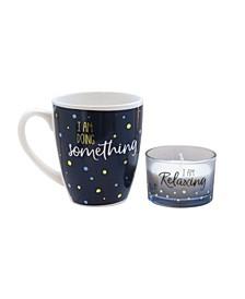 Blue Dot Mug and Matching Candle Jar 2-Piece Set