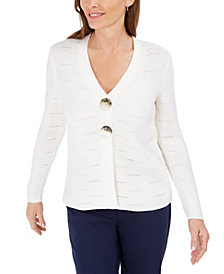 JM Collection Petite Statement-Button Cardigan, Created for Macy's