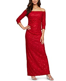 Petite Off-The-Shoulder Glitter Lace Gown