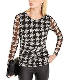 INC Petite Printed Sheer-Sleeve Top, Created For Macy's