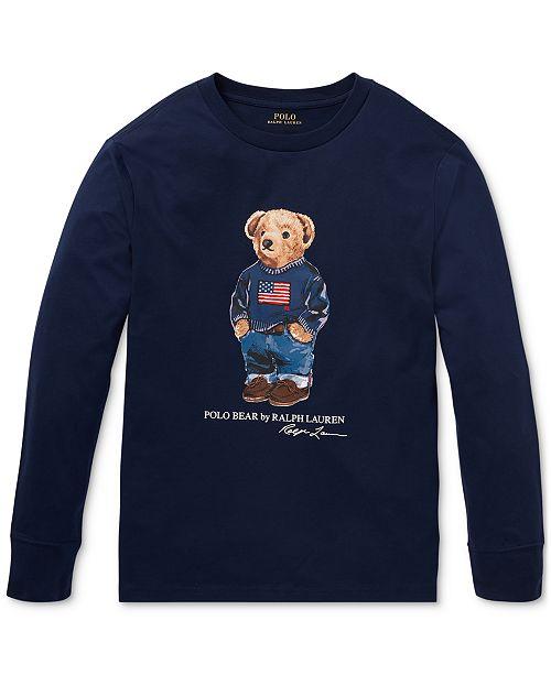 Polo Ralph Lauren Big Boys Sweater Bear Cotton Long-Sleeve T-Shirt, Created For Macy's