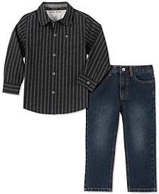 Little Boys 2-Pc. Cotton Striped Logo Shirt & Jeans Set