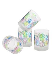 Pop Art Pineapple DOF Glass 14-Ounce Set of 4