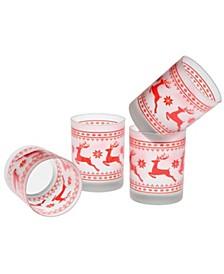 Red Sweater Reindeer DOF Glass 14-Ounce Set of 4