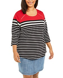 Plus Size Scoop-Neck Striped Top, Created For Macy's