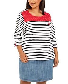 Plus Size Stripes & Dots Top, Created for Macy's