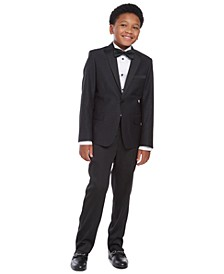 Big Boys 2-Pc. Slim-Fit Pintucked Tuxedo Shirt & Bow Tie Set, Slim-Fit Marble Jacquard Blazer & Slim-Fit Stretch Satin Dress Pants