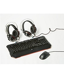 Alpha Gaming Battle Group 3-Piece Set with Vertex Headset, Recon Keyboard & Optical Precision Mouse
