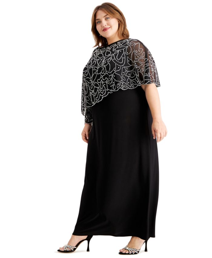 MSK Plus Size Beaded Cape Gown & Reviews - Dresses - Plus Sizes - Macy's